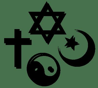 Zeichen der vier Weltreligionen