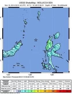 Eine Karte des US Geological Survey (USGS) zeigt Ort und Intensität des Erdbebens der Stärke 7,3 etwa 150 Kilometer nordwestlich der Stadt Kota Ternate