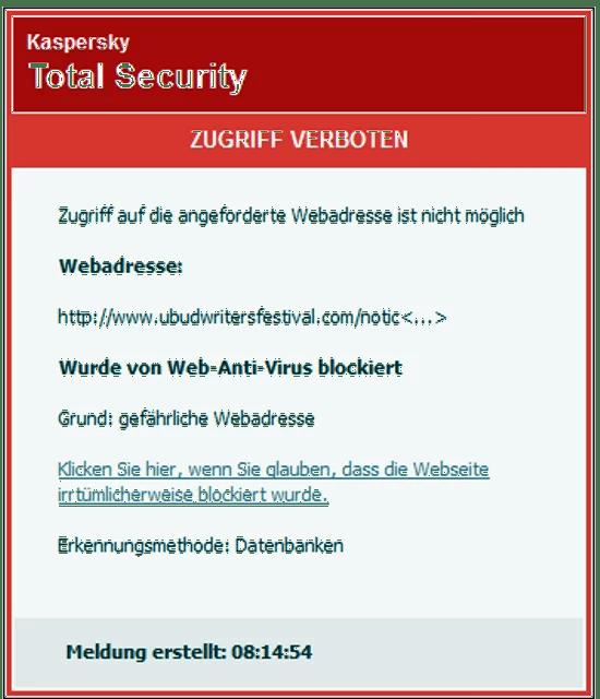 Webseite des Festival durch Virus verseucht