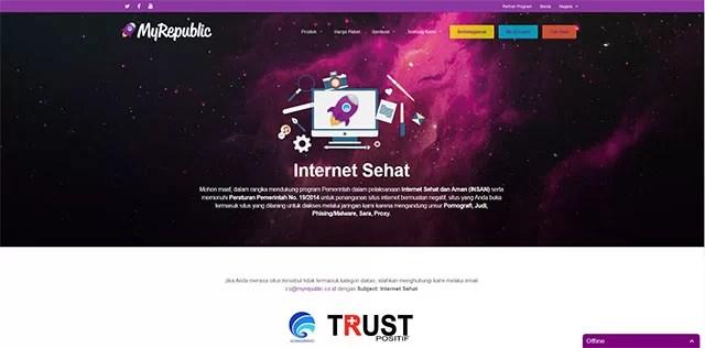 Indonesien blockiert weitere 800.000 Webseiten / Screenshot MyRepublic Sperrseite