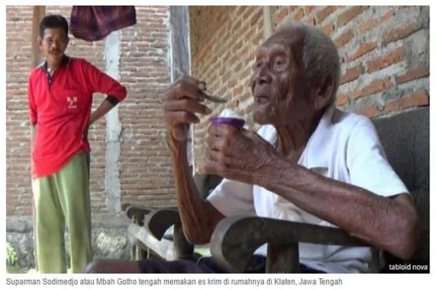 Ältester Mensch der Welt gestorben / Sreenshot: http://banjarmasin.tribunnews.com/2016/08/30/mbah-gotho-merasa-diberi-mukjizat-hingga-usia-146-tahun