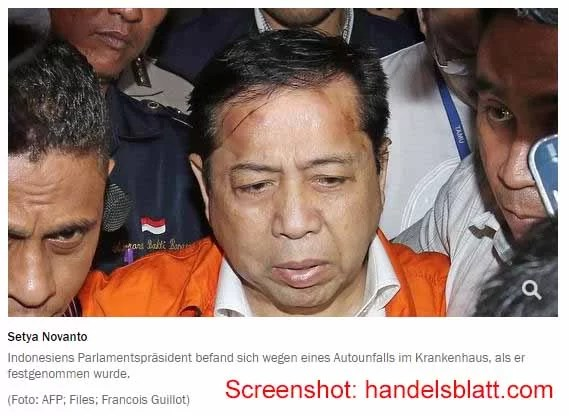 Indonesischer Parlamentspräsident verhaftet / Sreenshot: handelsblatt.com