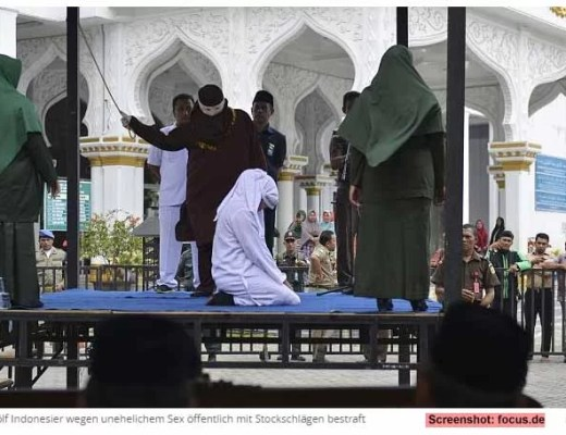 Wieder öffentliche Auspeitschung in Aceh / Screenshot: focus.de
