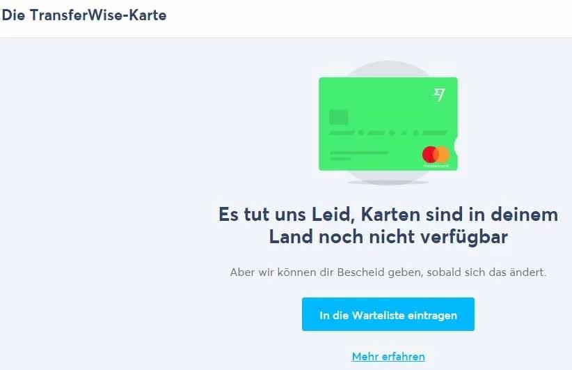 Transferwise Debitkarte in Indonesien nicht verfügbar