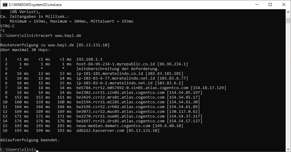 Route meiner Daten von meinem PC zu meinem Blog www.bayi.de