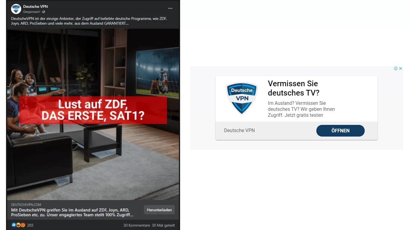 Links Werbung auf Facebook - Rechts Werbung auf Bayi.de