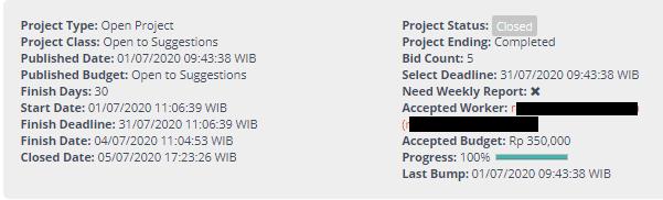 Screenshot des Auftrages von Projects