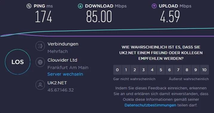 Speedtest über deutschen VPN-Server von Kaspersky VPN
