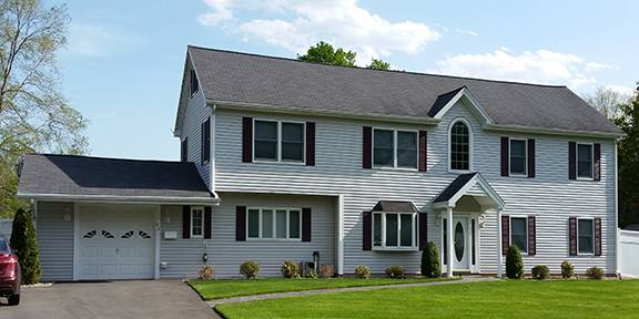 Finished gray vinyl siding