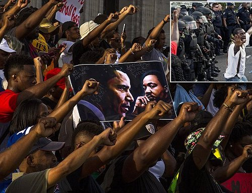 THOUSANDS take to streets of America for a FIFTH night as protests over police violence GROW