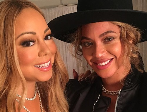PHOTO: Beyonce chopped it up with Mariah Carey last night