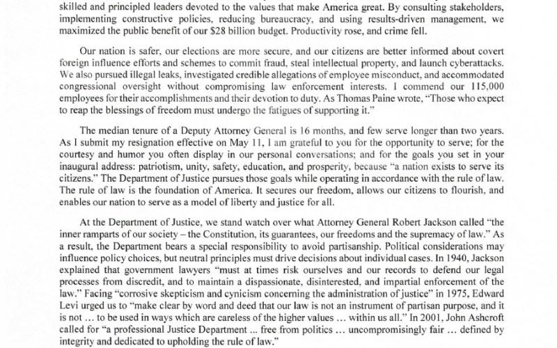 Rod Rosenstein resigns as Deputy Attorney General: Letter
