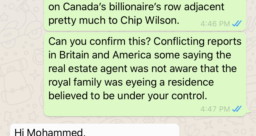 Canadian real estate agency refuses comment about massive home Duchess wants: Exclusive