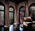 Heritance Plantation Shutters Front Tilt With Drapery Panels By Bazaar Home Decorating Bazaar Home Decorating