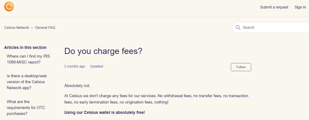 Celsius Wallet Transfer Fees 2