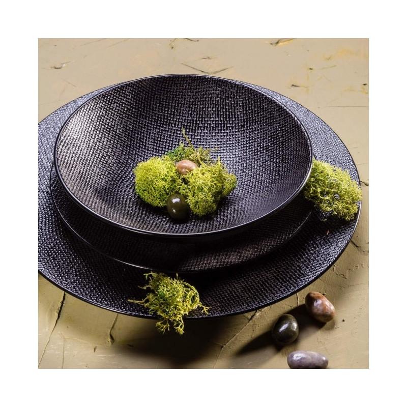 Achat Vente Assiette Noire Vesuvio Table Passion