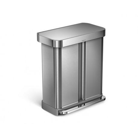 poubelle rectangulaire 58l double bac simplehuman