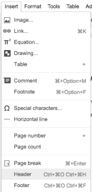 Google Docs 8 Inserting Headers Footers Page Numbers