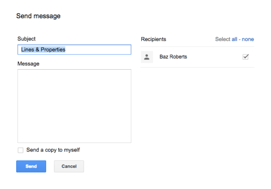 how to send a message to google