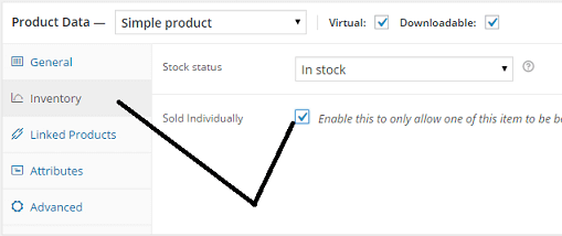 woocommerce Sold Individually