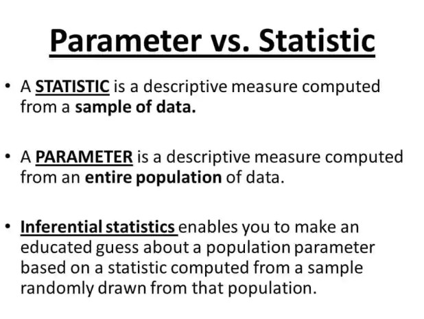 What is the difference between Parameter and Statistic