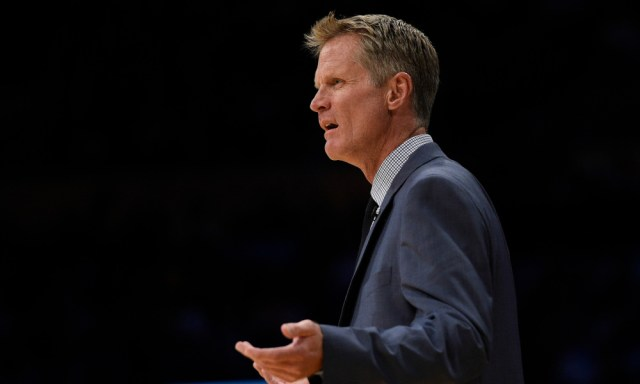Nov 4, 2016; Los Angeles, CA, USA; Golden State Warriors head coach Steve Kerr reacts during the first quarter against the Los Angeles Lakers at Staples Center. Mandatory Credit: Kelvin Kuo-USA TODAY Sports ORG XMIT: USATSI-323512 ORIG FILE ID: 20161104_kek_ak6_068.JPG
