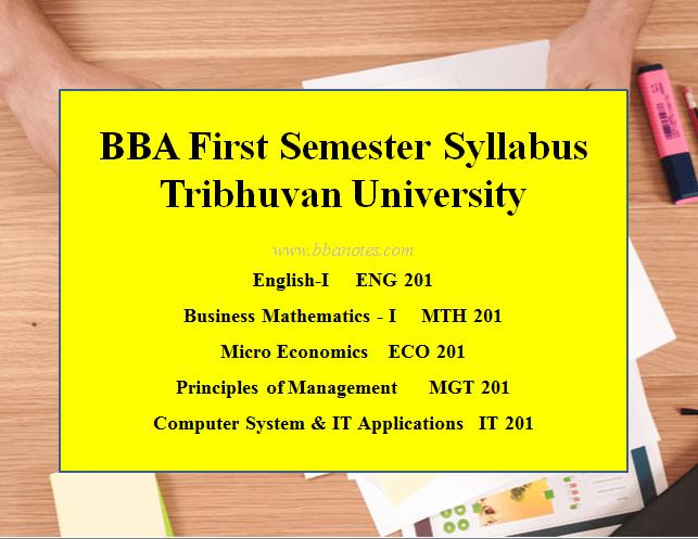 TU BBA First Semester syllabus