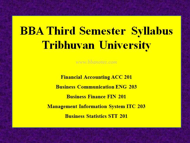 TU BBA Third Semester Syllabus