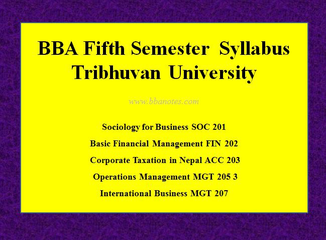 TU BBA Fifth Semester Syllabus