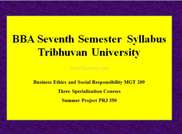 BBA Seventh Semester – BBA Syllabus |  Tribhuvan University
