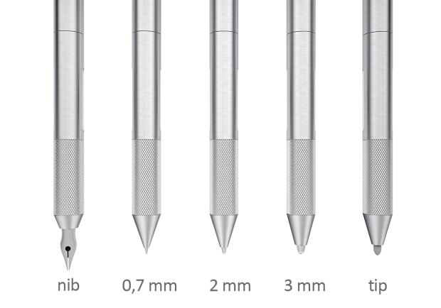 ปากกา Cronzy Pen พ่วงหัวปากกามาทั้งหมด 5 แบบ ที่มา : indiegogo.com