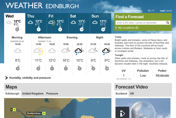 BBC Weather beta Edinburgh page