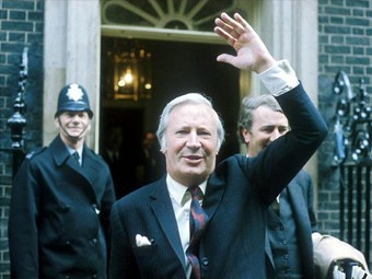 Ted Heath outside Number Ten