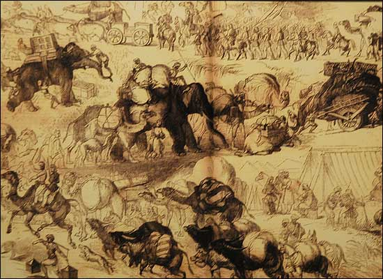 Army movements and transport in circa 1857. Elephants, camels, oxen, horses, mules, hauling cannon, carts, luggage, people over long distances. Pitched battles were fought - and this was no mutiny.     Image source and courtesy - bbc.co.uk     Click for image.