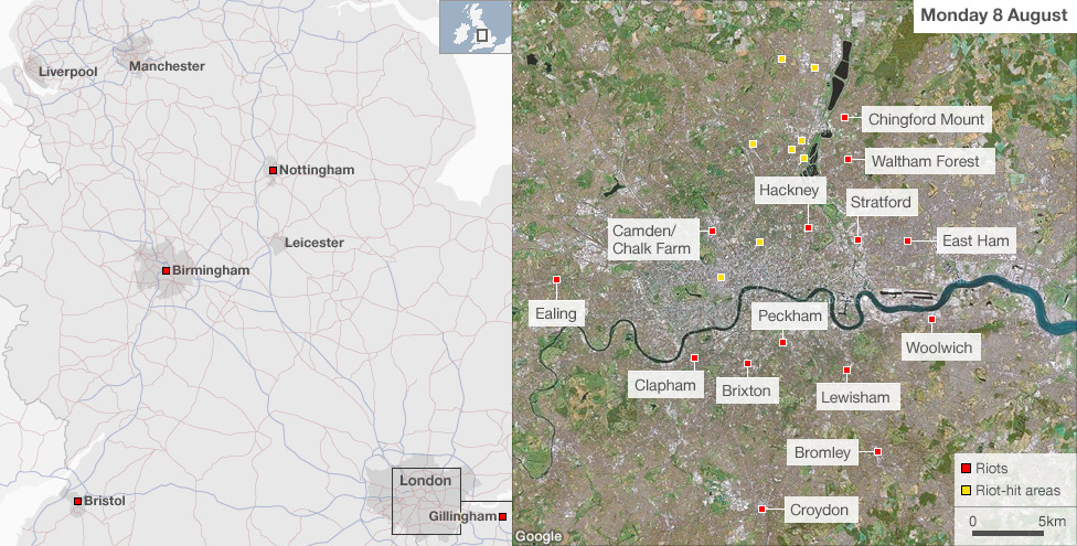 Map showing areas of riots 8 August