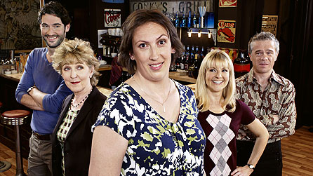 Miranda: (l-r) Gary (Tom Ellis), Penny (Patricia Hodge), Miranda Hart, Stevie (Sarah Hadland), Clive (James Holmes) (image: BBC/Adam Lawrence)