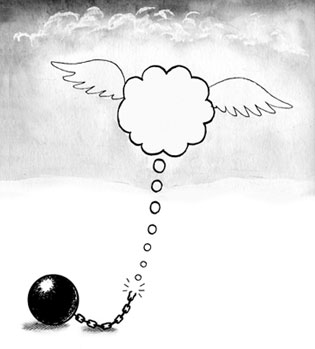 Cartoon (© Peter Blegvad) of thought cloud breaking free of a ball and chain.