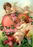 Winged cherubs and a giant pink love heart hung with roses