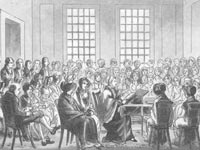 Old drawing of Quakers sitting in a circle of chairs