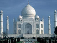 Famous white domes and towers of the Taj Mahal