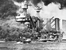 The attack on the US naval base at Pearl Harbor, Hawaii.