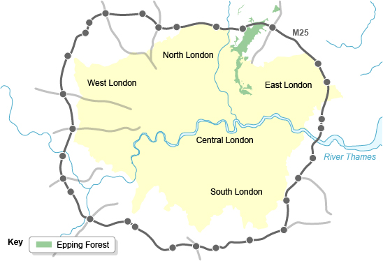 Map showing location of Epping Forest in relation to London