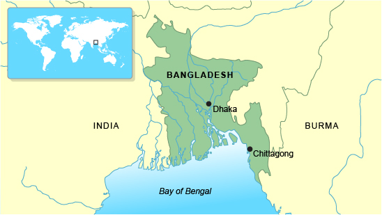 Map of Bangladesh showing the main rivers