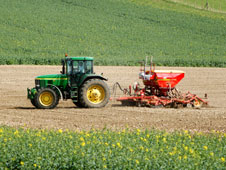 A tractor sowing seeds in Oxfordshire