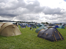 Tents at a music festival in Gloucestershie