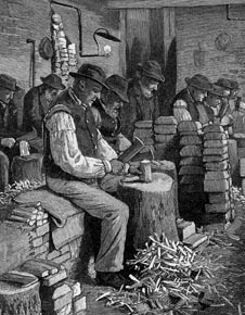 illustration of men sitting in rows in squalid conditions chopping wood in a workhouse