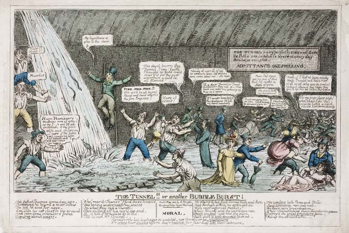 cartoon of the thames tunnel becoming flooded with water it became