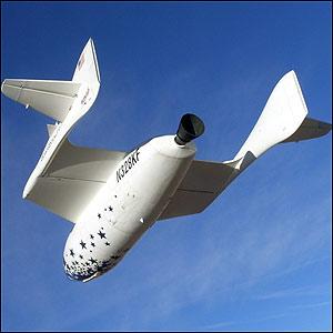 El SpaceShipOne, una alternativa de turismo espacial con vuelos sub-orbitales.