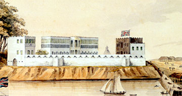 A view of the slave fort at Bance Island, c.1805