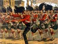 Painting showing British soldiers racing to quash the Indian mutiny at Lucknow in 1857